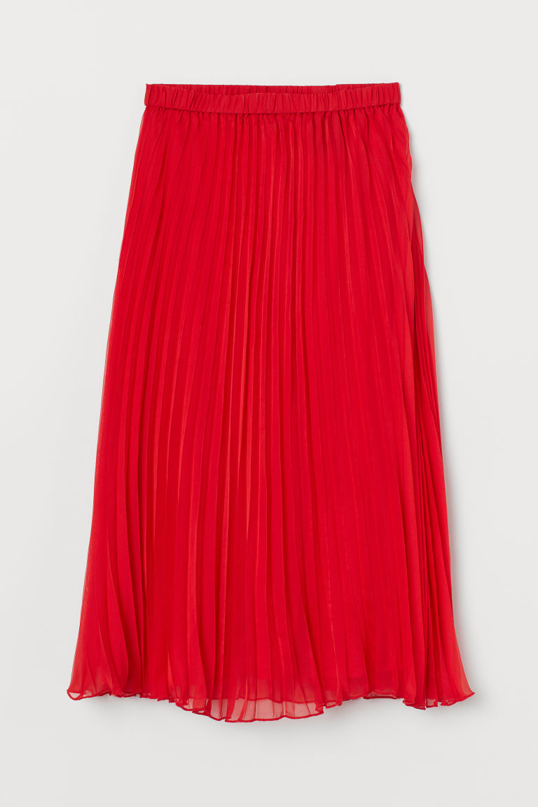 Pleated Skirt - Red -  | H&M US