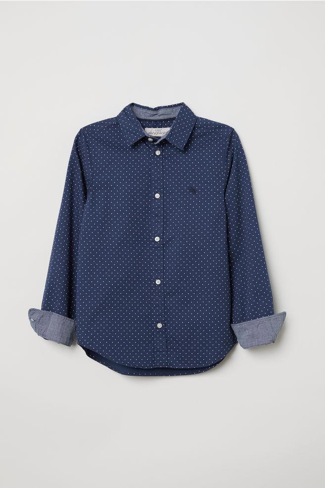 d497f591ec24 Cotton Shirt - Dark blue dotted - Kids