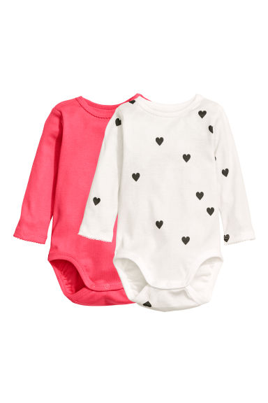 2-pack long-sleeved bodysuits - Coral pink/Hearts - Kids | H&M