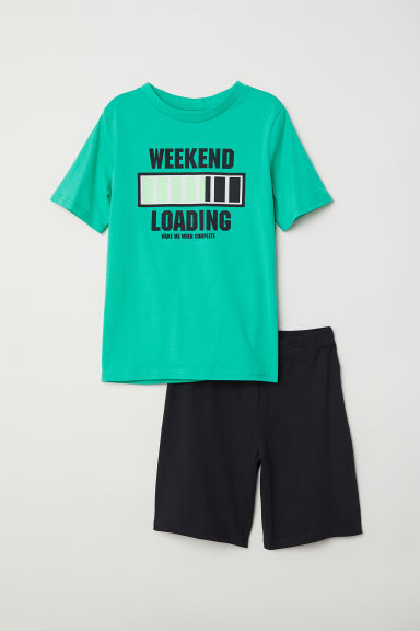 Jersey pyjamas - Green/Weekend -  | H&M