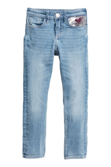 Superstretch Skinny fit Jeans - 浅牛仔蓝/亮片 - Kids | H&M CN