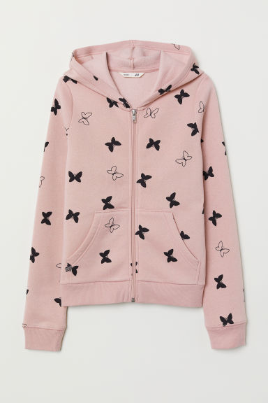 Hooded jacket - Powder pink/Butterfly - Kids | H&M CN