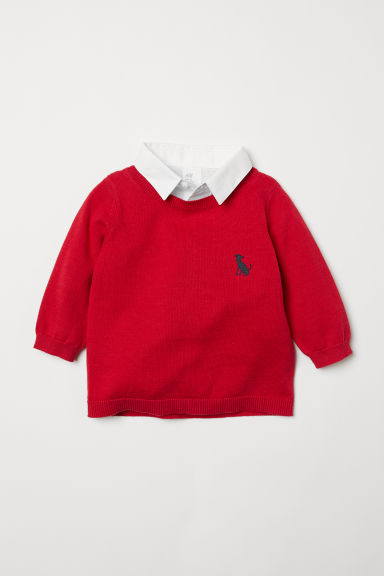 Top with a shirt collar - Red/White - Kids | H&M