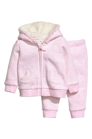 Hooded jacket and joggers - Light pink - Kids | H&M CN