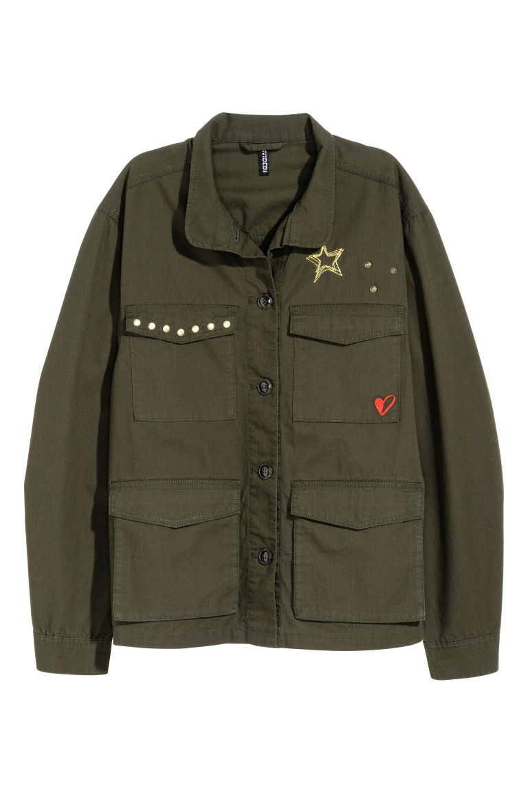 Cotton cargo jacket - Dark khaki green -  | H&M CN