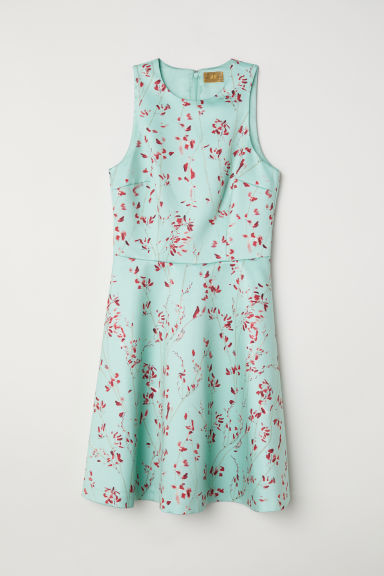 Patterned satin dress - Light turquoise/Floral - Ladies | H&M