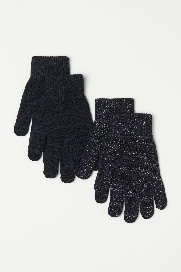 2-pack gloves - Black/Glittery - Ladies | H&M