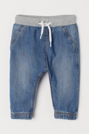 Denim pull-on trousers