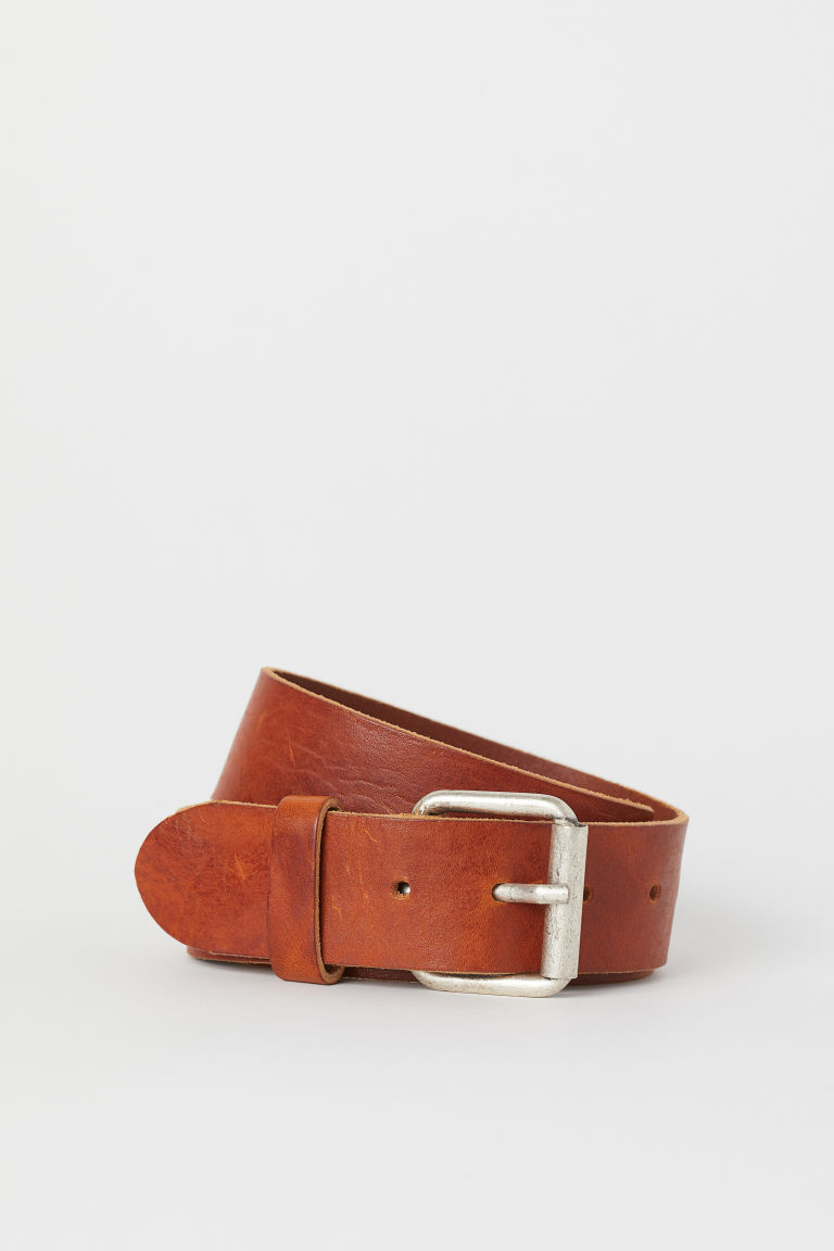 Wide leather belt - Cognac brown - Men | H&M