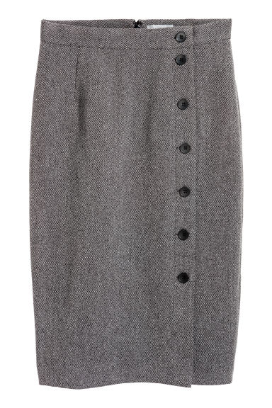 Knee-length skirt - Dark grey/Herringbone - Ladies | H&M IE