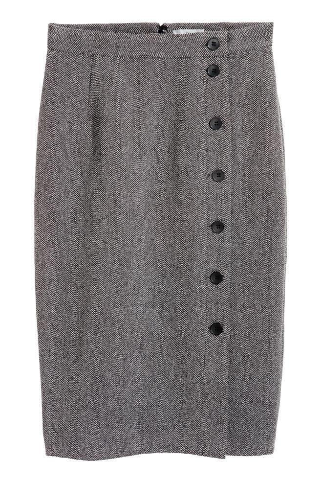 7d61dabd1b Knee-length skirt - Dark grey/Herringbone - Ladies | H&M ...