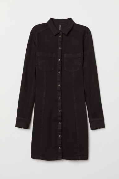 Fitted shirt dress - Black denim -  | H&M