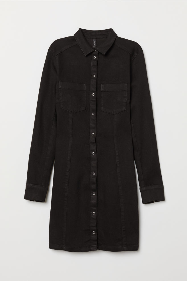 a9f1151b1993 Fitted Shirt Dress - Black denim - | H&M ...