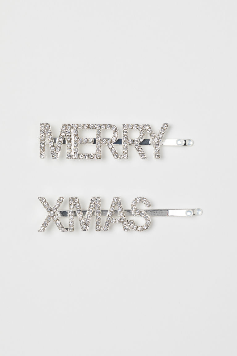 2-pack Sparkly Hair Clips - Silver-colored/Merry Xmas - Ladies | H&M CA
