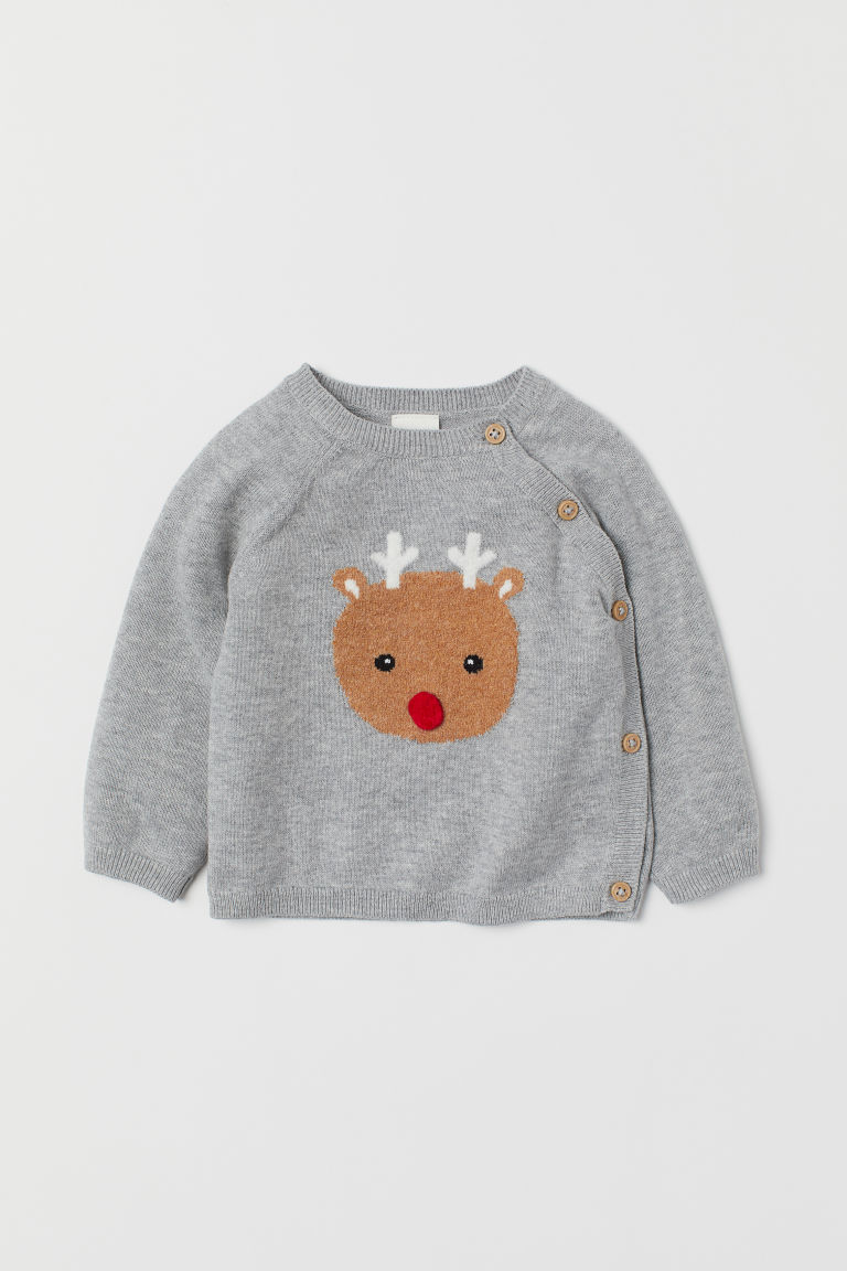 Fine-knit cotton jumper - Light grey marl/Reindeer - Kids | H&M