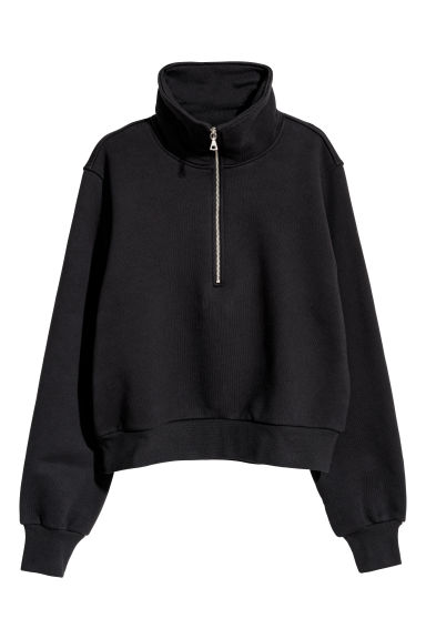 Sweatshirt with a zip - Black - Ladies | H&M CN