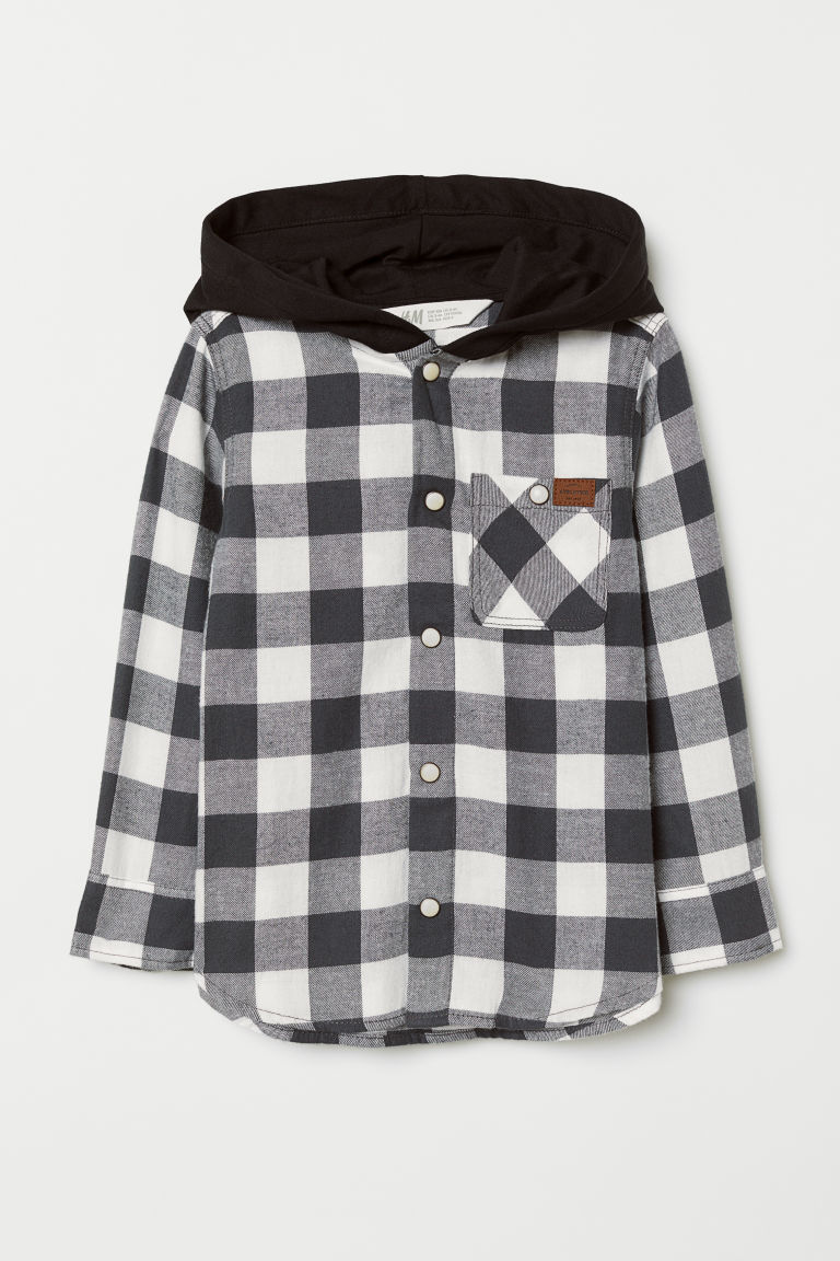 Hooded shirt - Dark grey/Black - Kids | H&M CN