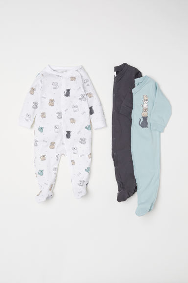 3-pack all-in-one pyjamas - Light turquoise/Dogs -  | H&M