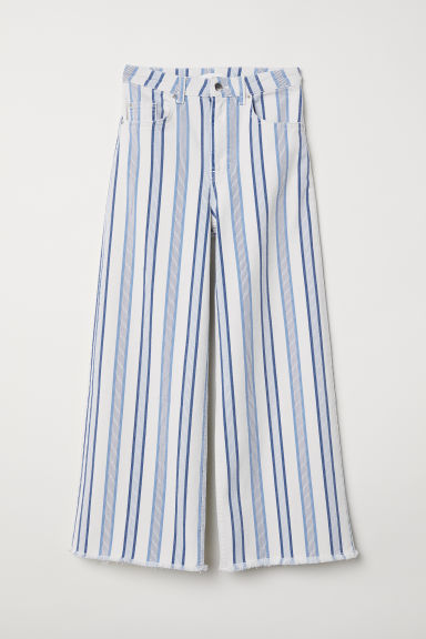 Ankle-length twill trousers - White/Striped - Ladies | H&M