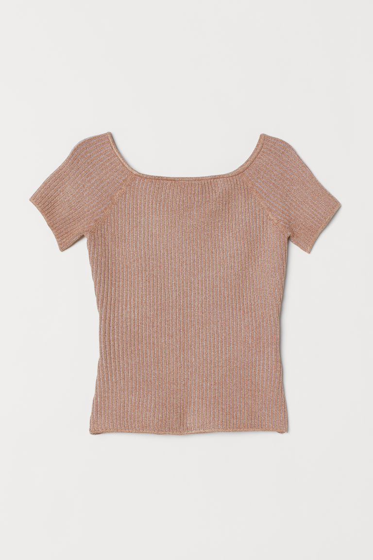 Ribbed off-the-shoulder top - Beige marl - Ladies | H&M