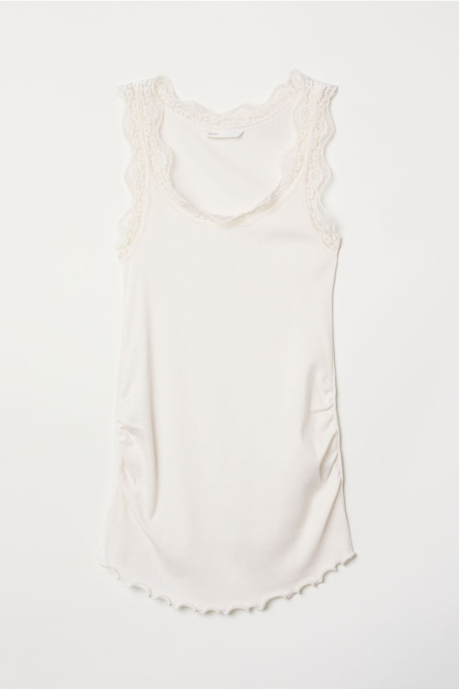 ef5f948cf54b6d MAMA Lace-trimmed Tank Top - White - Ladies