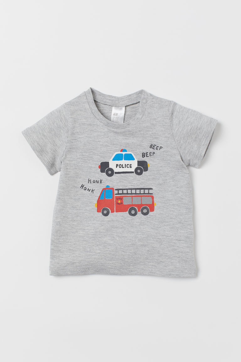 T-shirt with Printed Design - Gray melange/vehicles - Kids | H&M US