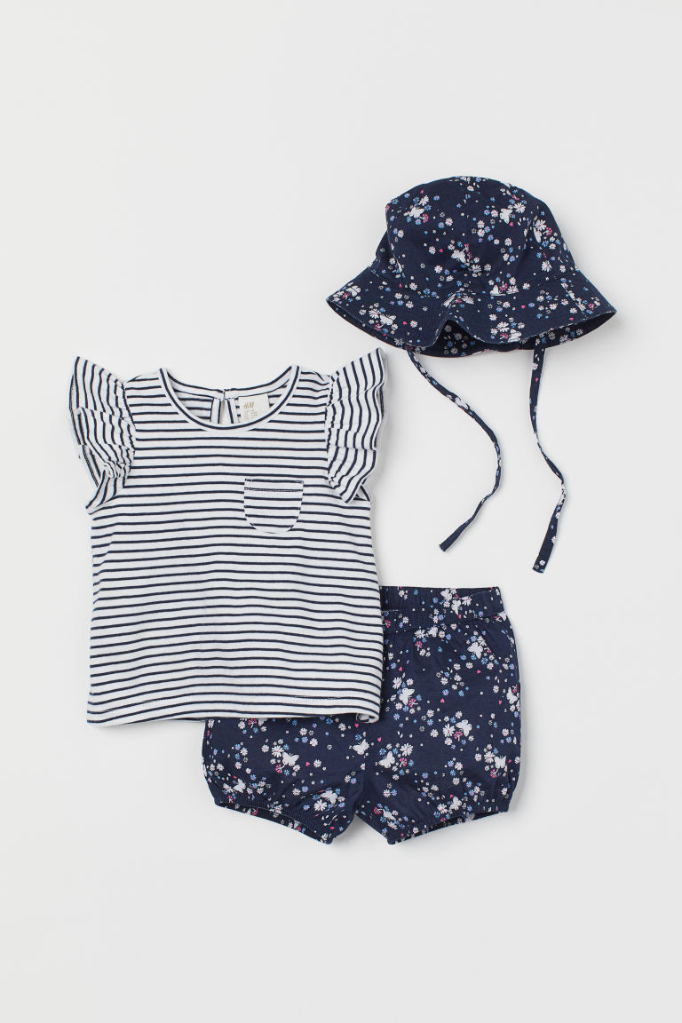 3-piece cotton set - Dark blue/Floral - Kids | H&M