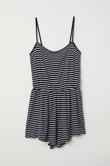 Jersey playsuit - Black/White striped -  | H&M