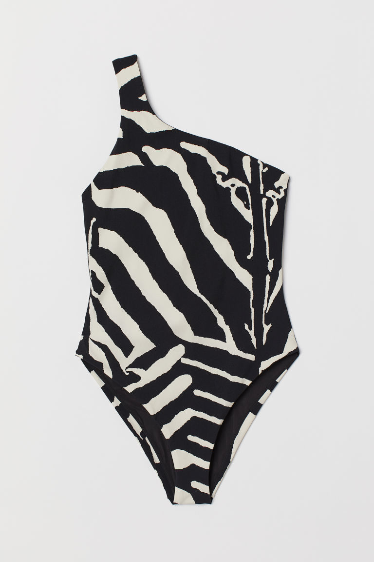 One-shoulder Swimsuit - Black/zebra-striped - Ladies | H&M US