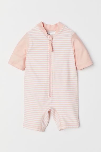 Swimsuit UPF 50 - Powder pink/white striped - Kids | H&M US