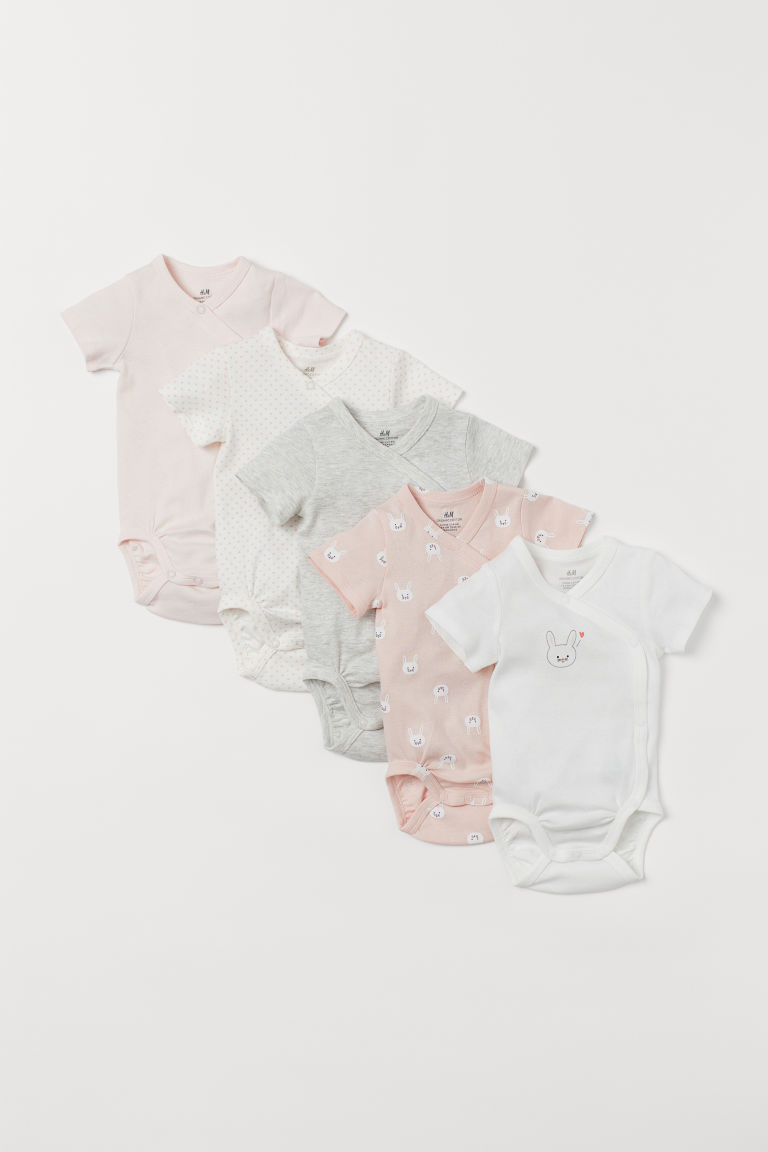 5-pack side-fastener bodysuits - Light pink/Rabbits - Kids | H&M