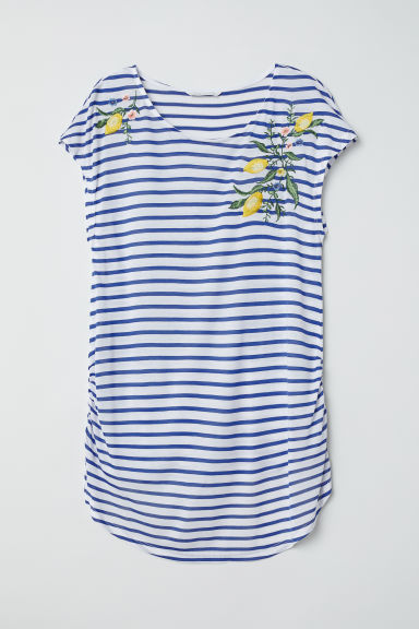 MAMA Top with embroidery - White/Blue striped - Ladies | H&M CN