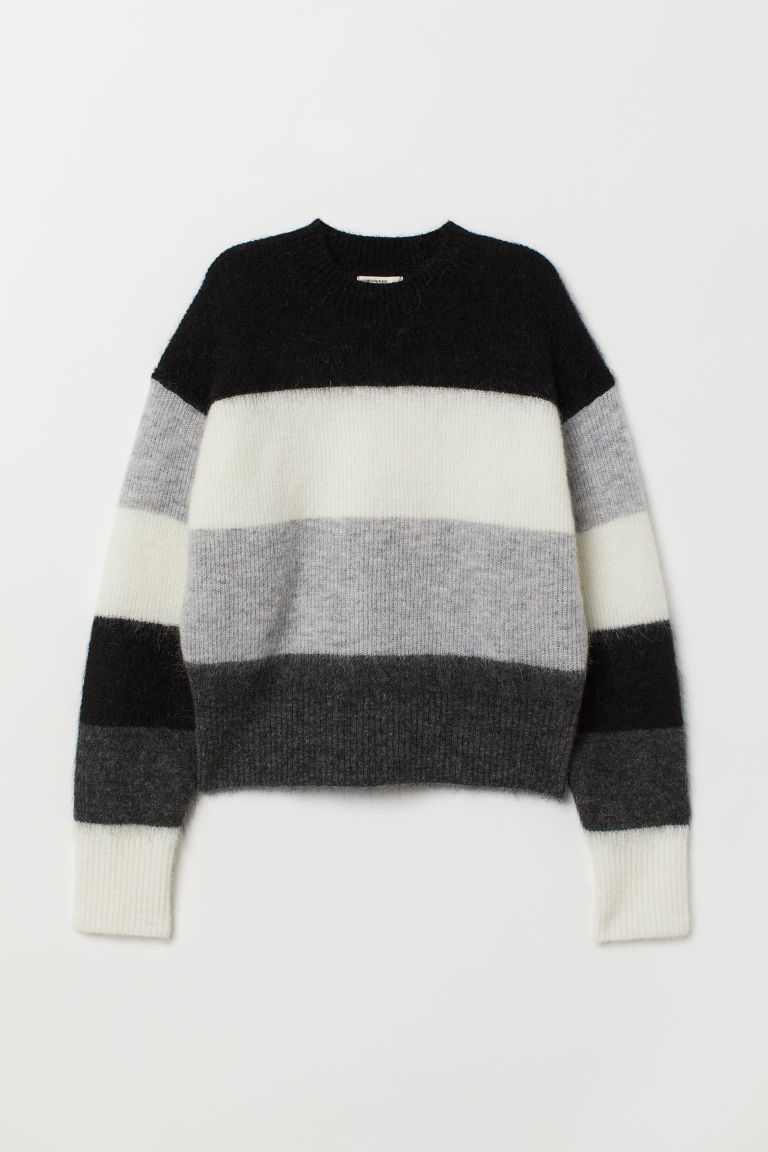 Knitted wool-blend jumper - Black/Block-coloured - Ladies | H&M GB