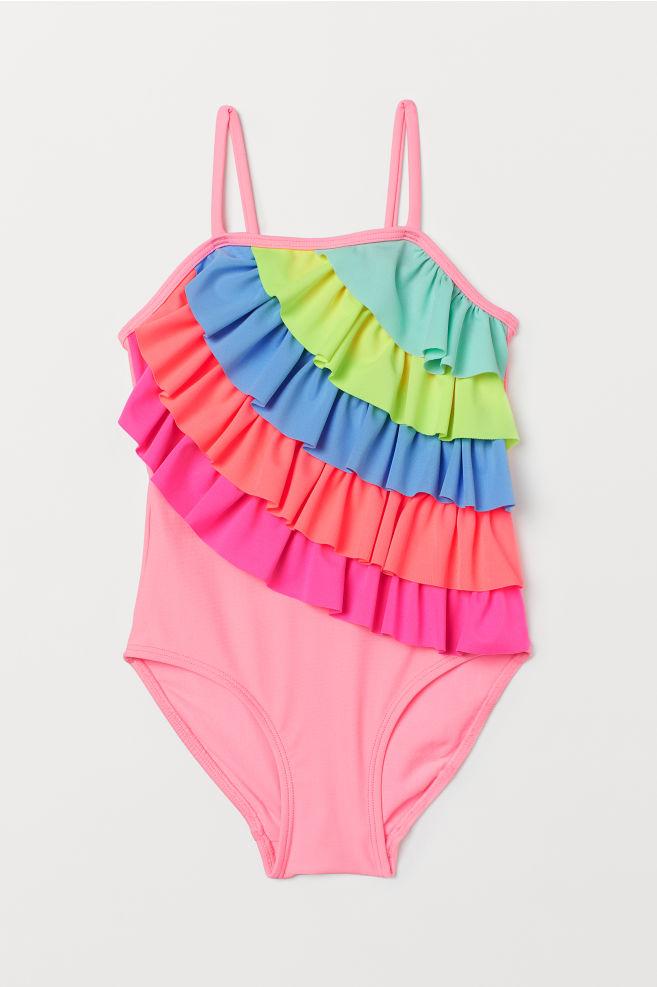 fc4252886fd Цял бански костюм с волани - Розов/Много цветове - ДЕЦА | H&M ...