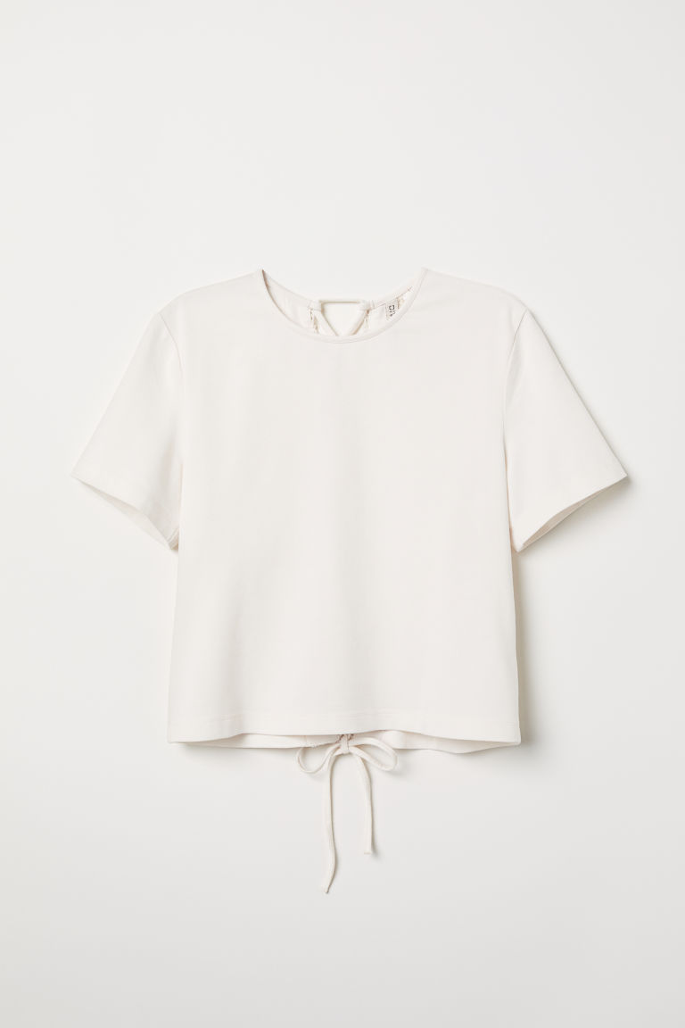 Top with lacing - White - Ladies | H&M CN