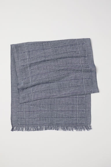 Jacquard-weave scarf - Dark blue/Patterned - Men | H&M CN