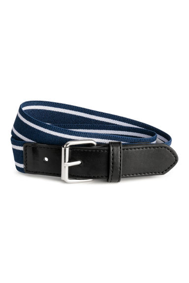 Elasticated belt - Dark blue/Striped - Kids | H&M