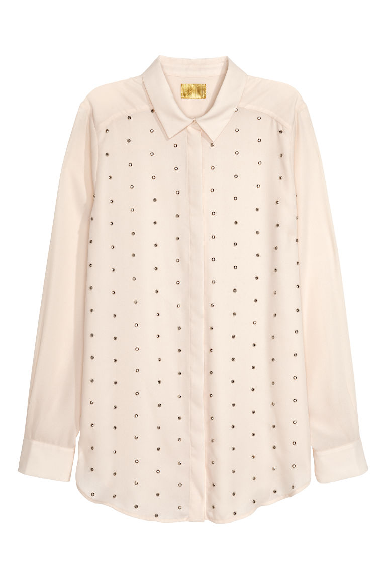 Blouse with studs - White - Ladies | H&M
