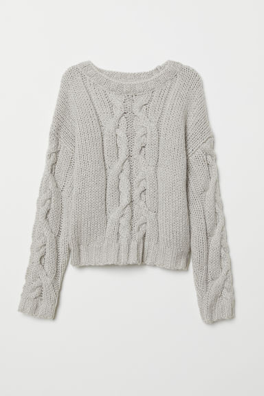 Chunky-knit jumper - Light grey marl -  | H&M CN