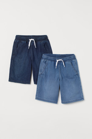 2-pack denim pull-on shorts