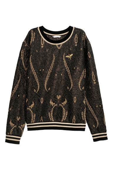 Glittery top - Black/Gold-coloured - Ladies | H&M GB
