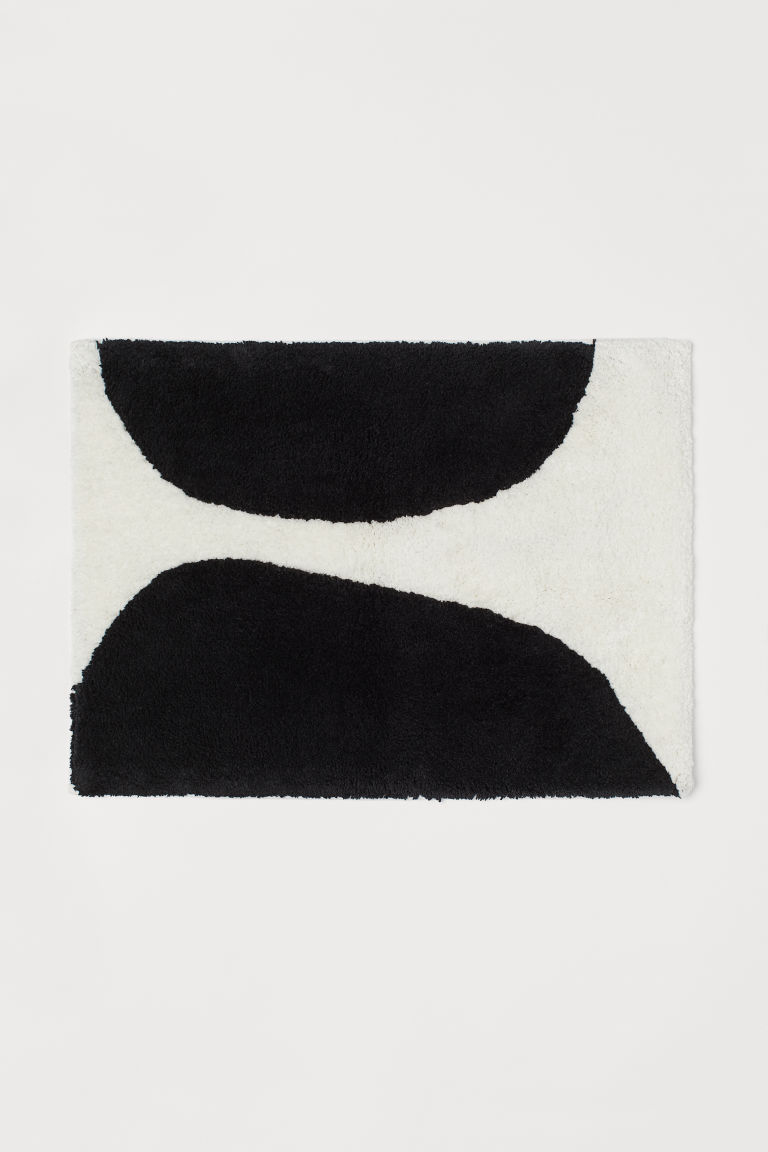Pile Bath Mat - Black/white - Home All | H&M US