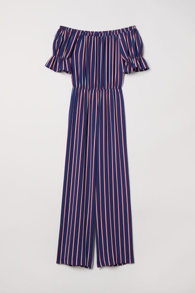 Off-the-shoulder-jumpsuit - Dark blue/Striped - Ladies | H&M