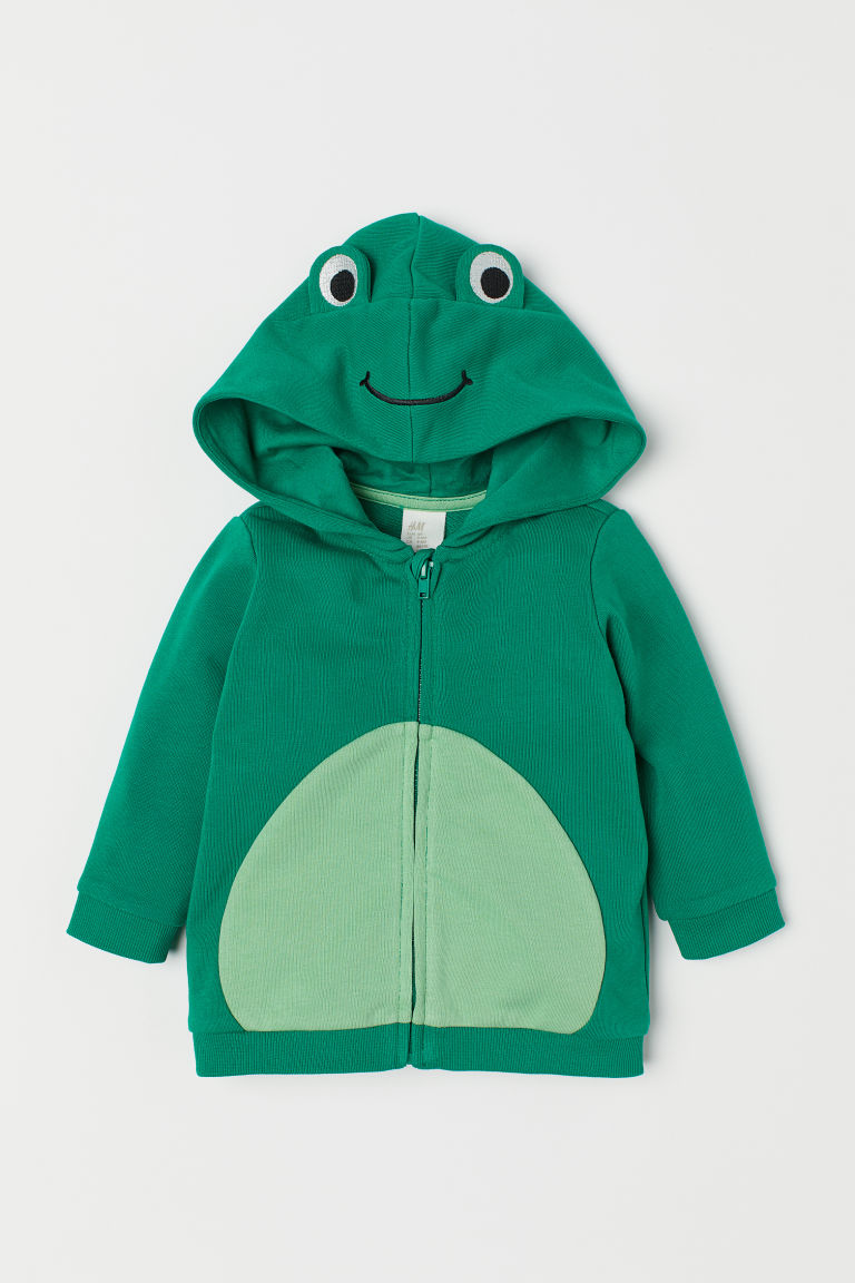 Hooded jacket with appliqués - Green/Frog - Kids | H&M CN