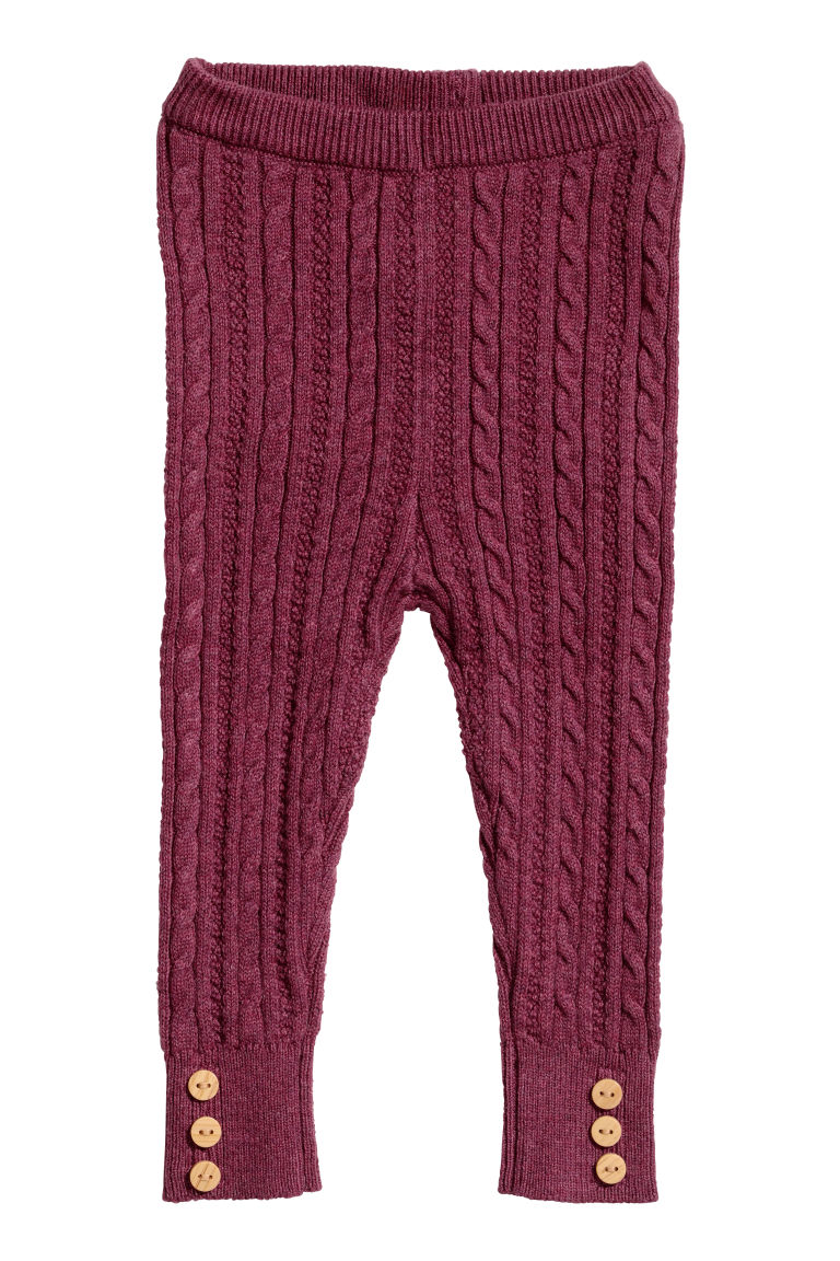 Knitted leggings - Raspberry pink - Kids | H&M CN