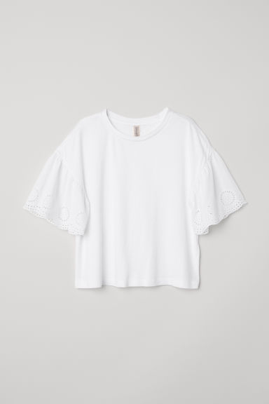 Top with broderie anglaise - White - Ladies | H&M