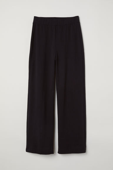 Wide jersey trousers - Black -  | H&M CN