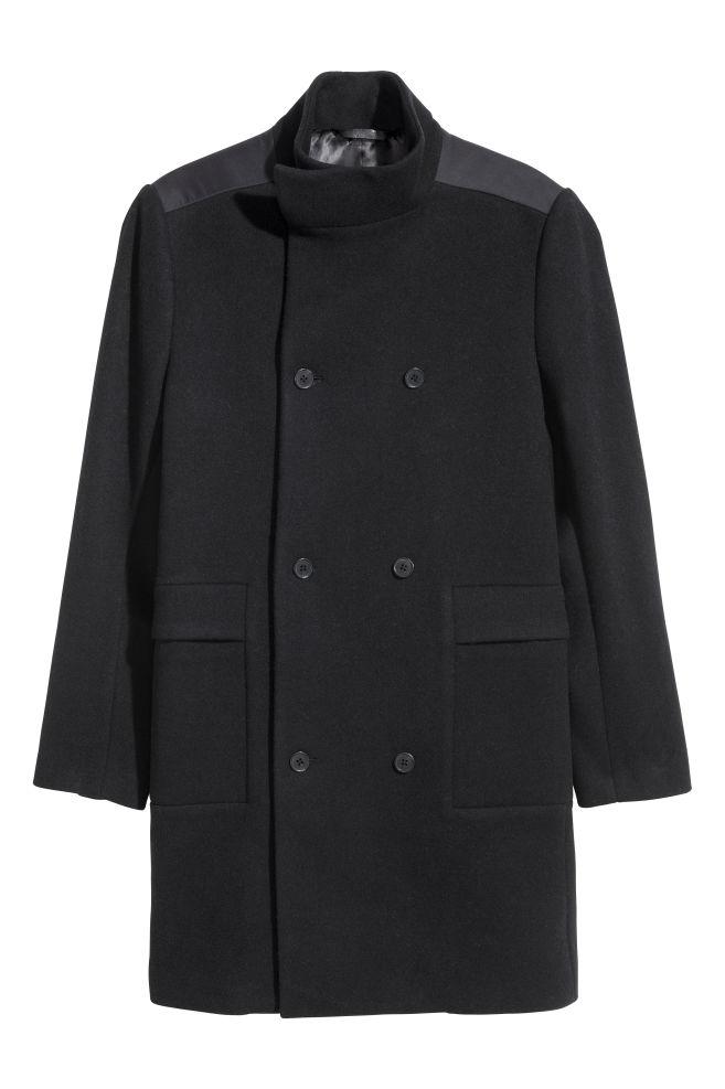f625b8f987 Átlapolós kabát - Fekete - FÉRFI | H&M ...