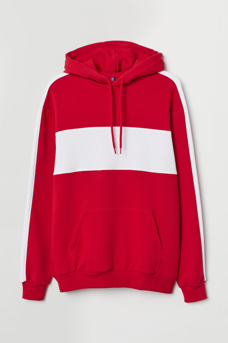 Hooded top - Red/White - Men | H&M IE