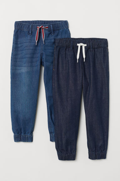 2-pack denim joggers - Denim blue/Dark denim blue - Kids | H&M